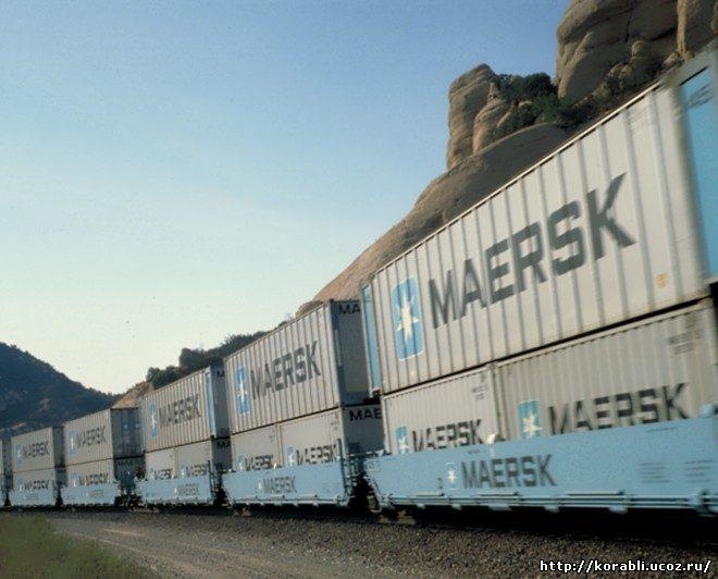железнодорожный состав компании Maersk